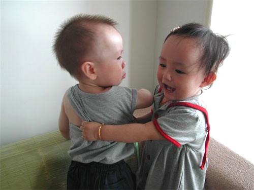 Little Girl Kisses Little Boy - Little Boy Not Thrilled