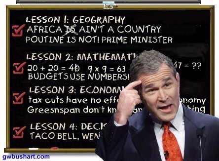 George Bush in a school classroom.