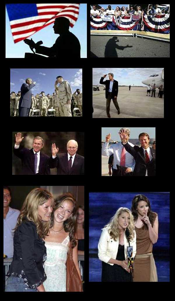 A collection of pictures showing Bush and Kerry in similar situations. Kerry always looks foolish.