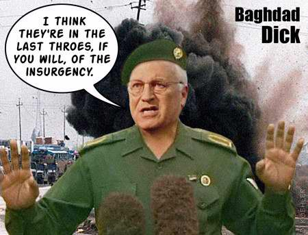 A collection of funny images of Dick Cheney.